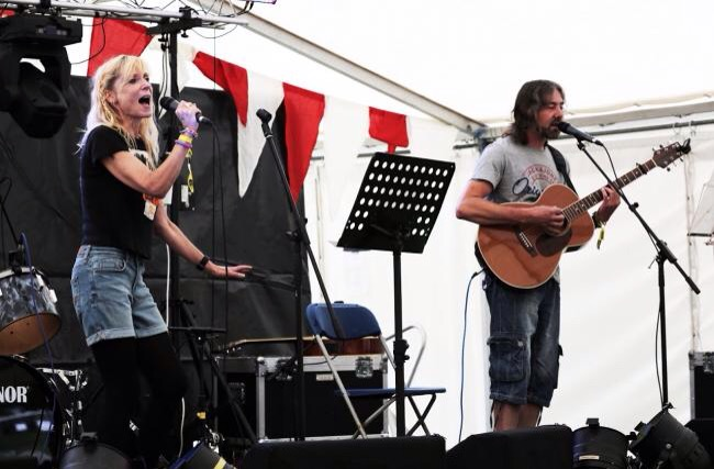 Myself and my husband performing