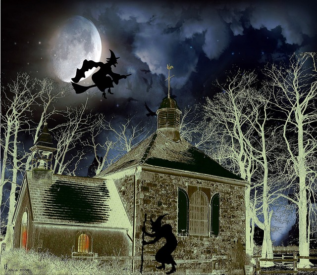 A witch riding her broomstick.