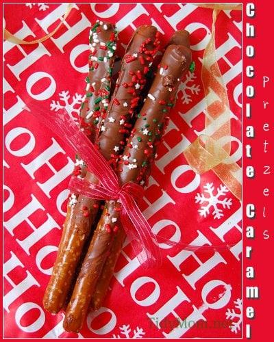 caramel and chocolate dipped pretzel rods