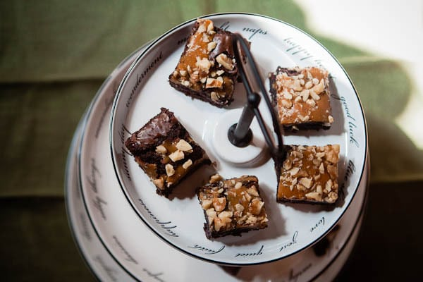 Caramel and Walnut Topped Dark Chocolate Brownies