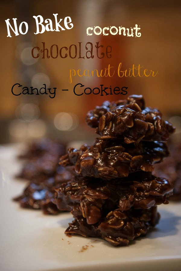 no bake coconut oatmeal chocolate peanut butter cookies