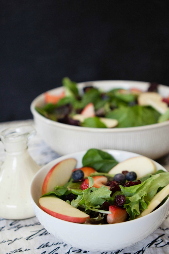 leafy green fruit salad with dijon dressing
