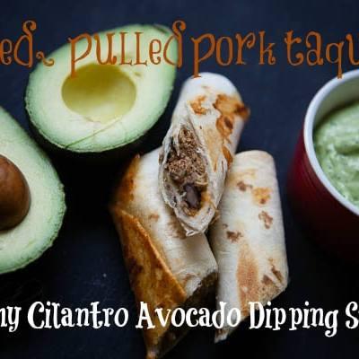 Baked Pork Taquitos with Cilantro Avocado Dipping Sauce
