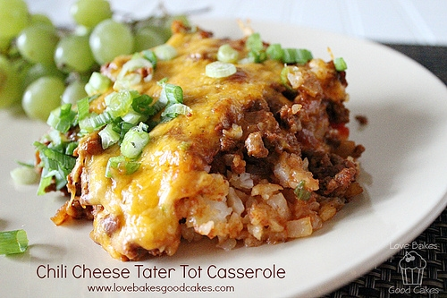 Chili Cheese Tater Tot Casserole by Love Bakes Good Cakes