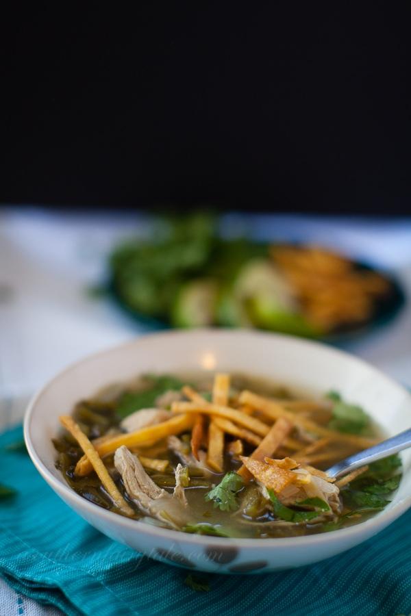 Lighter Chicken Poblano Tortilla Soup