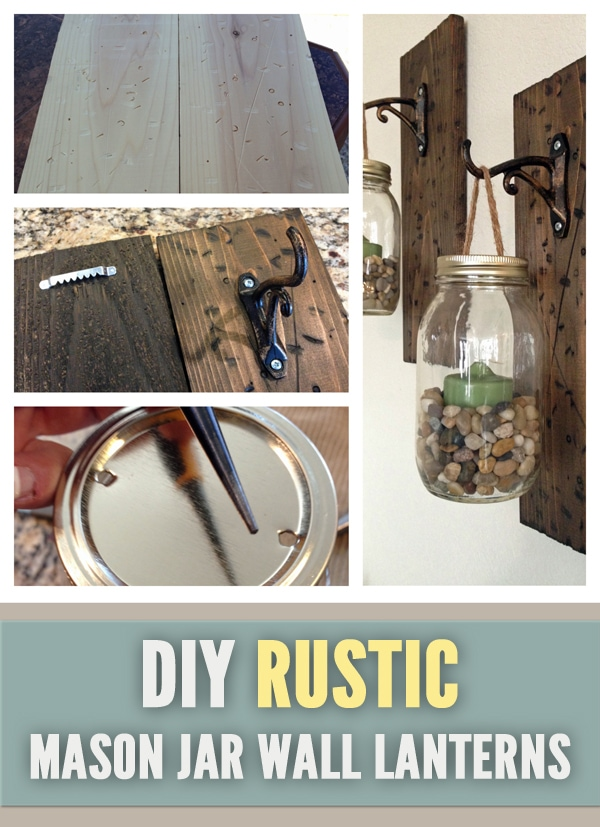 DIY Rustic Mason Jar Wall Lanterns --- These Mason Jar Wall Lanterns are easy to make at home and will add a fun rustic touch to your walls   asouthernfairytale.com #DIY #masonjarcrafts #masonjar