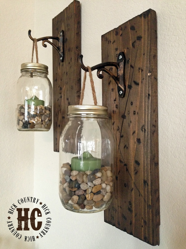 DIY Rustic Mason Jar Wall Lanterns --- These Mason Jar Wall Lanterns are easy to make at home and will add a fun rustic touch to your walls | asouthernfairytale.com #DIY #masonjarcrafts #masonjar