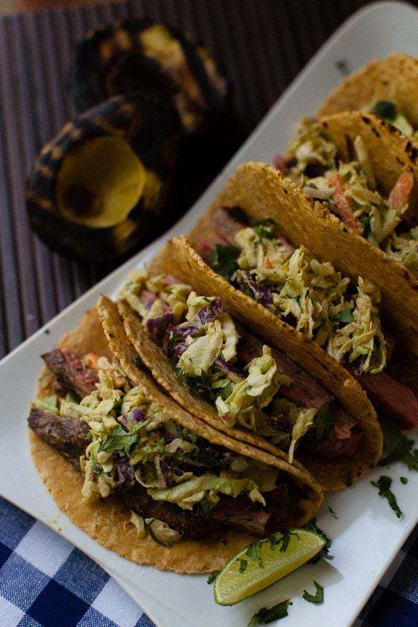 Food Truck Style Street Tacos with Chipotle Avocado Slaw