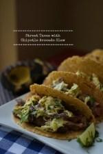 Flank Steak Street Tacos with Chipotle Avocado Slaw
