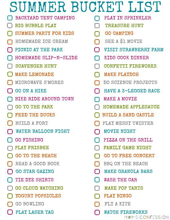 100 Ideas for Your Summer Bucket List