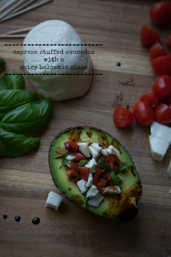 Caprese Stuffed Avocados with Spicy Balsamic Glaze