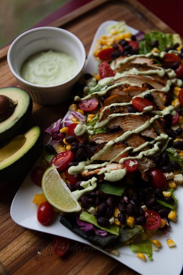 fajita grilled chicken with buttermilk avocado ranch dressing
