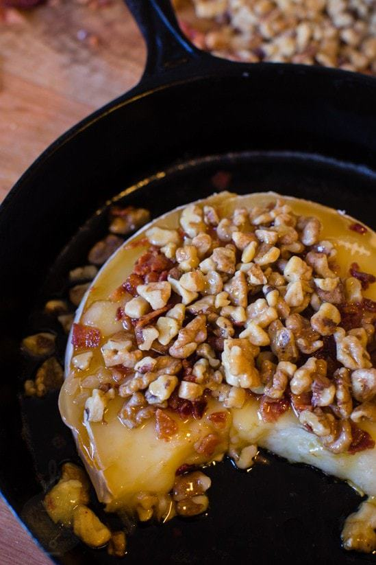 Honey, Walnut, and Bacon Topped Baked Brie