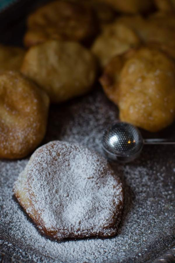 beignet sopapillas with powdered sugar and Grands biscuits
