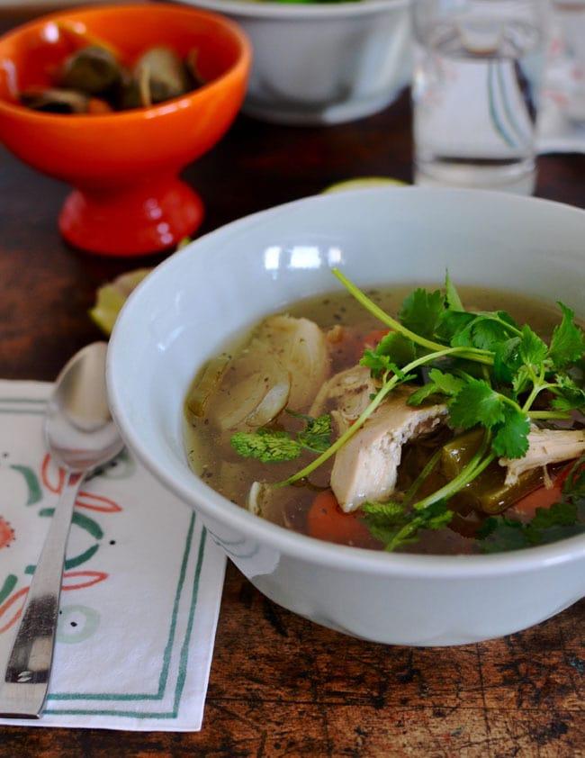 slow cooker caldo de pollo from hola de jalapeno