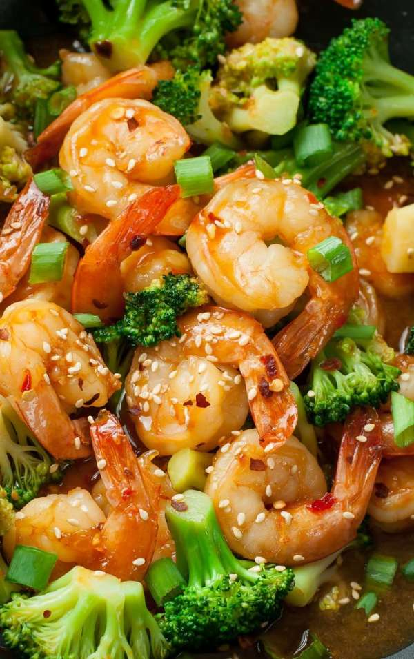 spicy szechwan shrimp and broccoli from peas and carrots