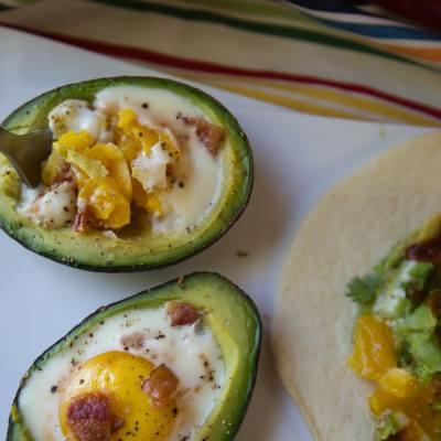 Baked Avocado Eggs in a Basket