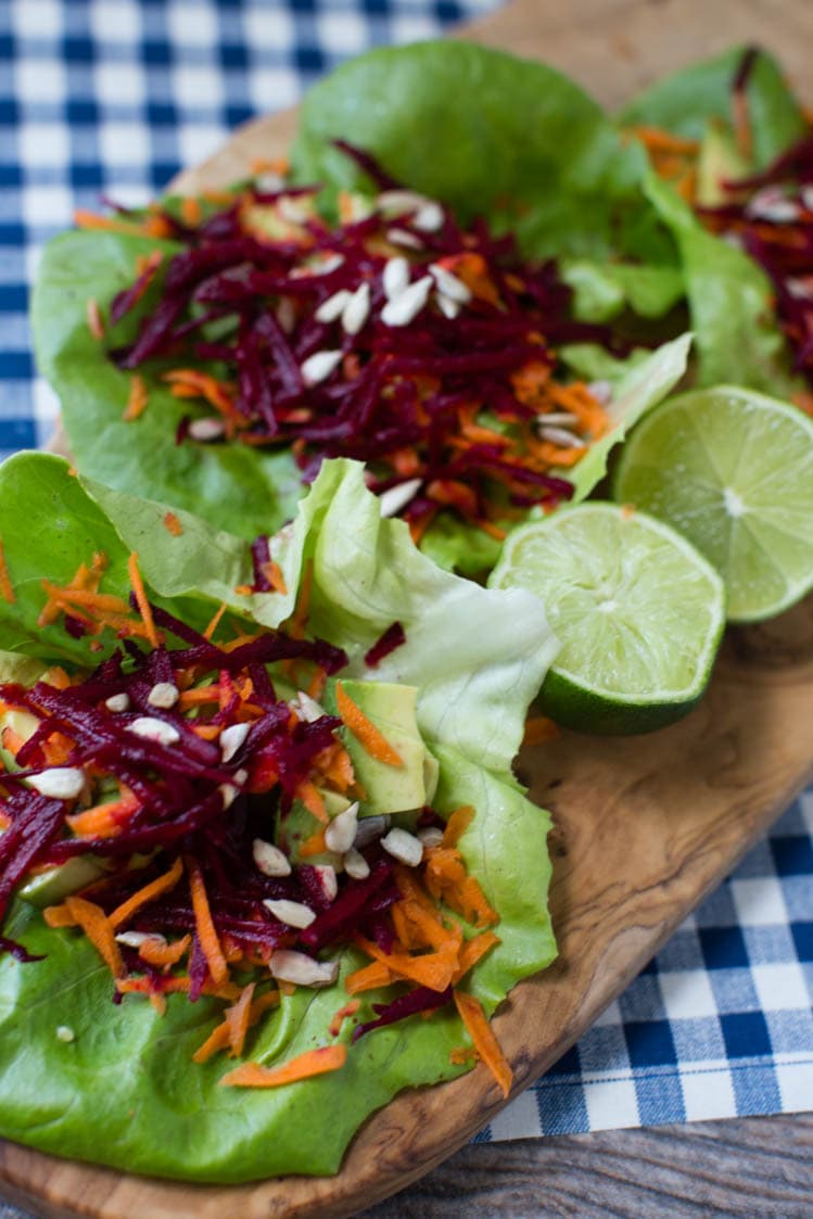 avocado, beet, and carrot salad wraps |  A Southern Fairytale