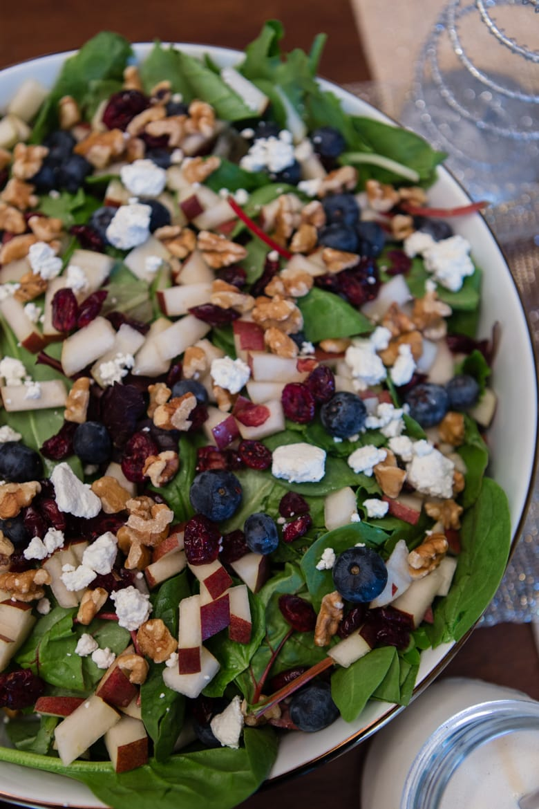 pear, berry, walnut winter salad with feta and tangy dressing