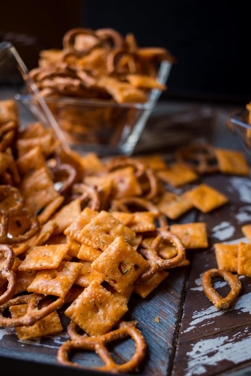 spicy firecracker cheezit pretzel snack mix