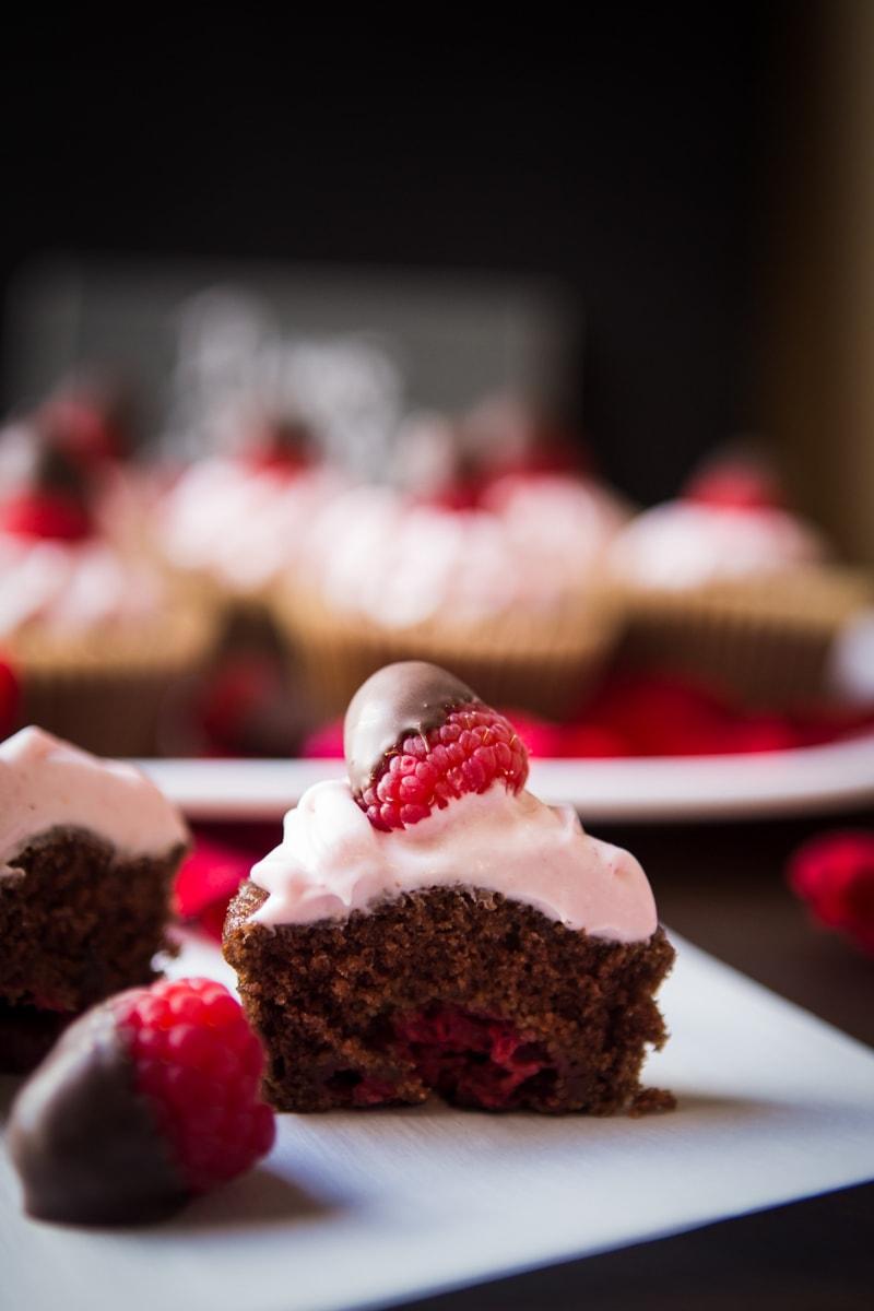 chocolate dipped raspberry cupcakes
