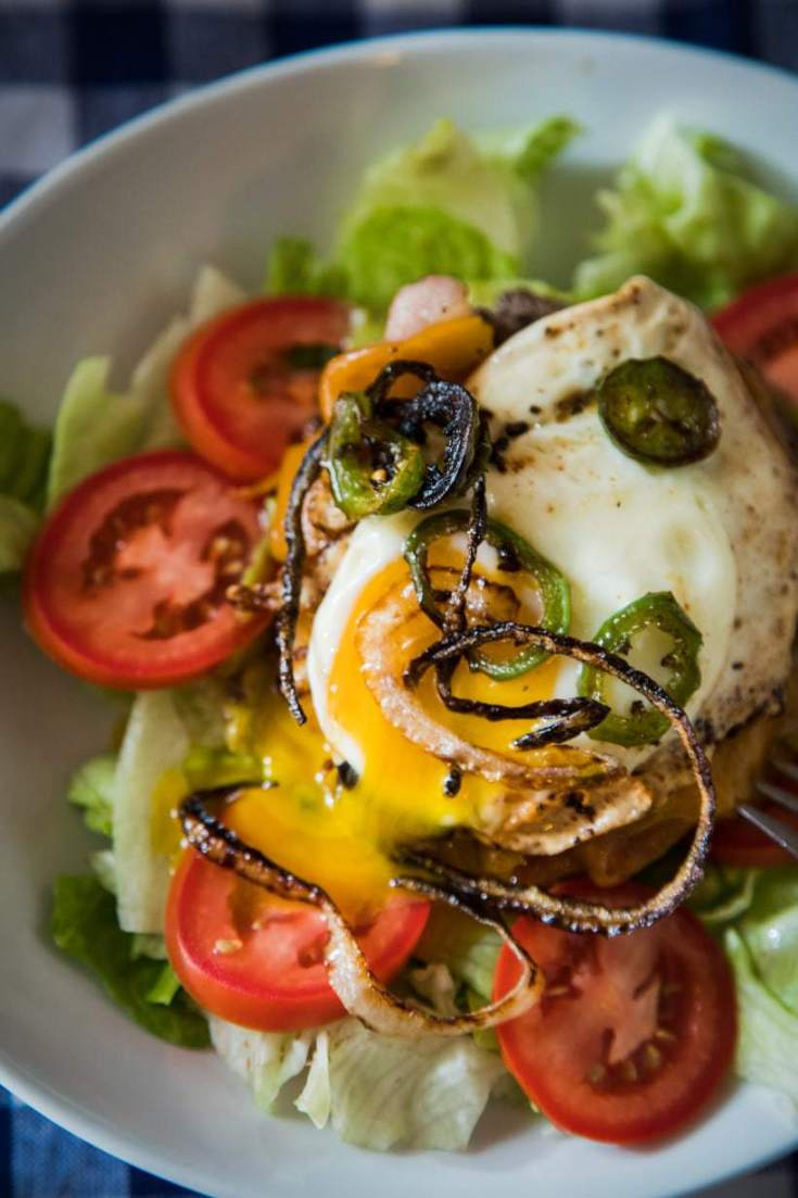 Keto Friendly Spicy Bacon Cheeseburger Bowls with Pan Fried Over Easy Egg