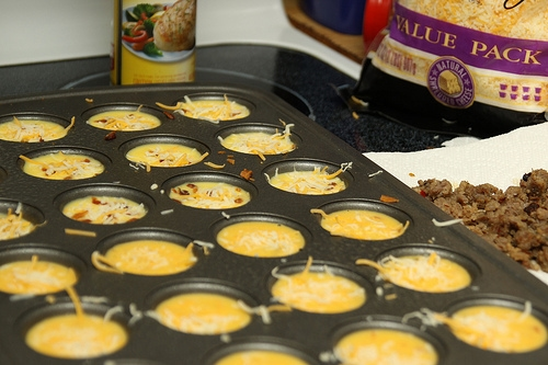 mini baked egg cups poured