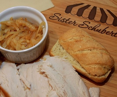 Toasted Mini Baguettes with Turkey, Swiss Cheese and Caramelized Onions