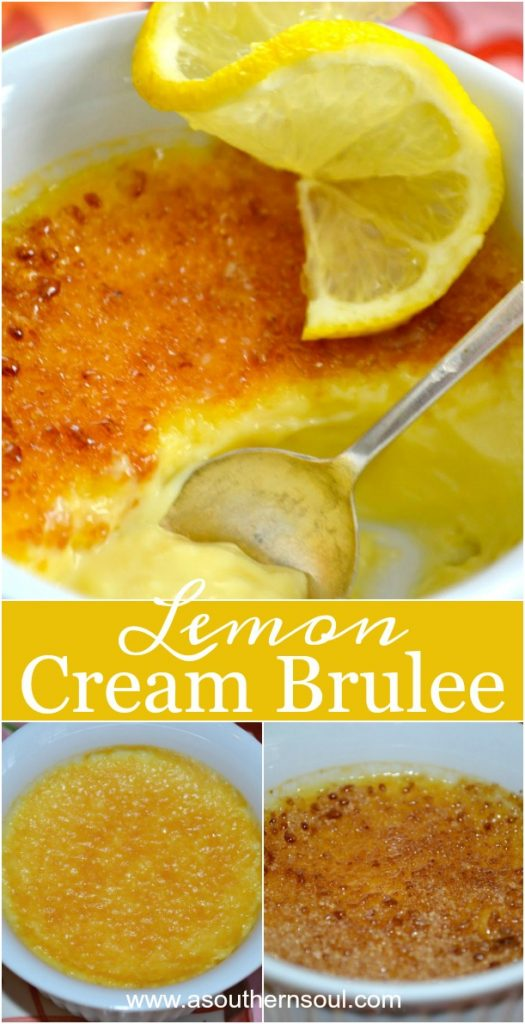Lemon Cream Brulee made with sugar, eggs, cream and lemons is a show stopping dessert that's easy to make!