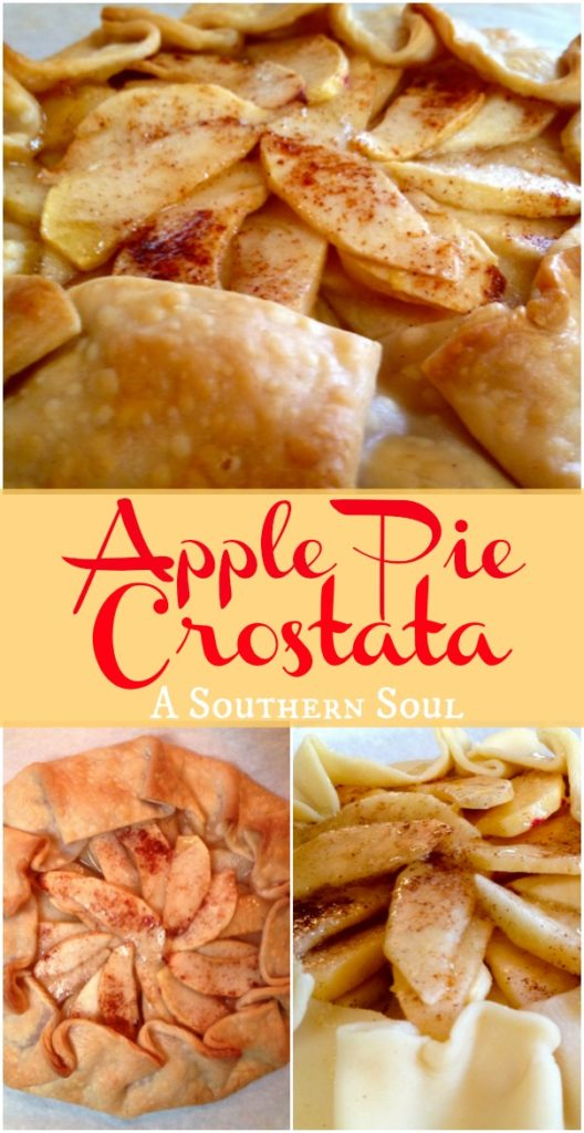 Apple Crostata is a simple, rustic dessert that's easy to make. Made with fresh apples, store bough pie crust and warm spices. This is a great dessert for a weeknight meal or holiday table!
