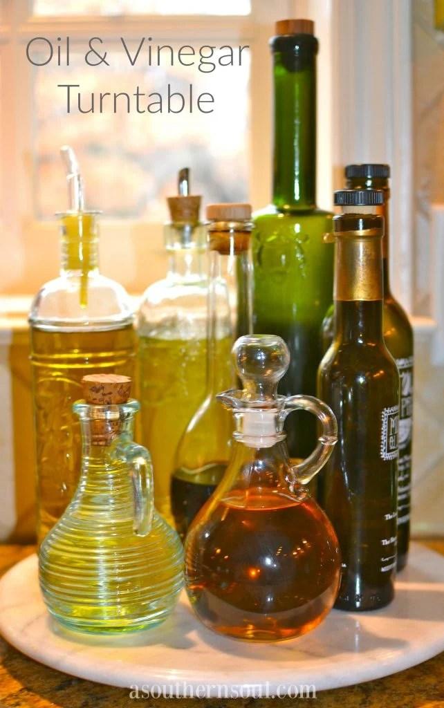 lazy susan, olive oil, vinegar, kitchen help