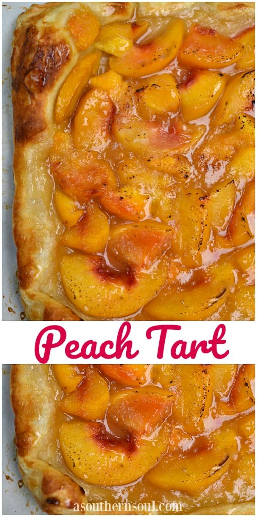 Peach Tart is a simple to make dessert made with puffed pastry along with fresh or frozen peaches. It's a great sweet treat to serve at any occasion.