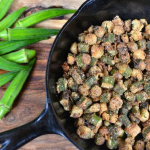 fried okra in cast iron