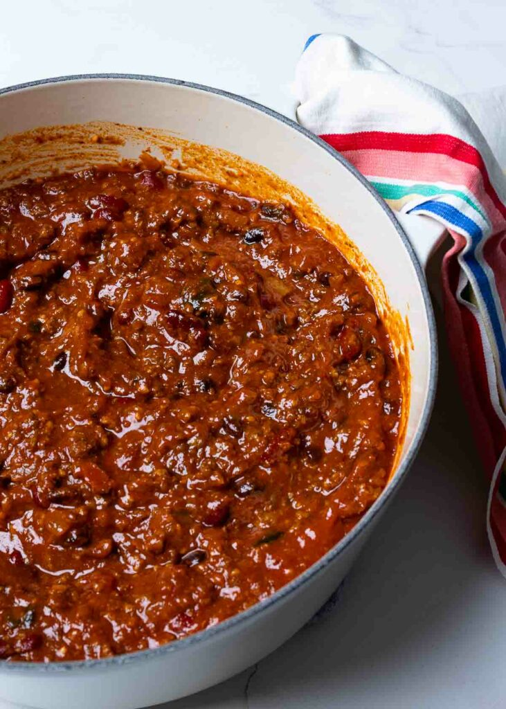 Southern Soul Chili in stock pot is comfort food at it's best.