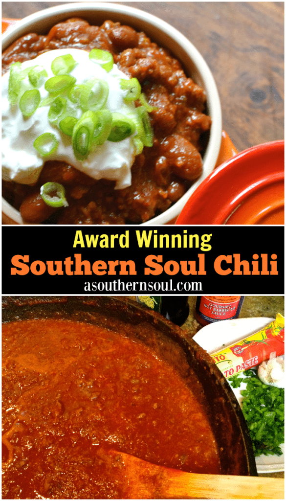 Award Winning Chili made with beef and sauce is loaded with amazing flavor! Perfect for tailgating, game day or when you're feeding a crowd. Simmered for hours, it's comfort food at it's BEST.