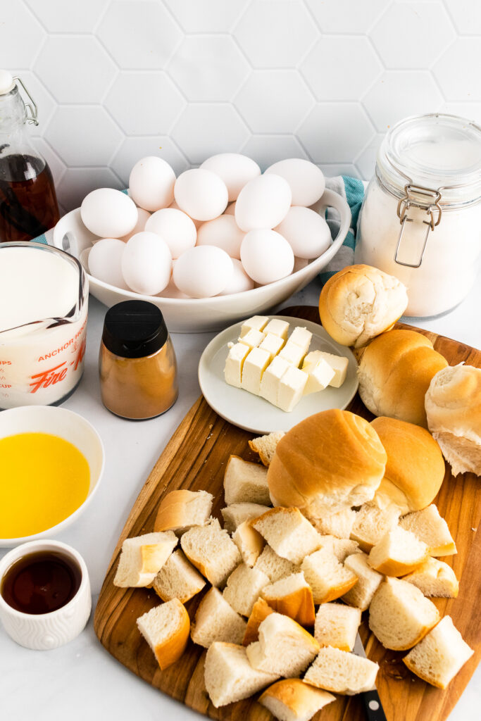 French Toast Bread Pudding ingredients with bread and eggs.