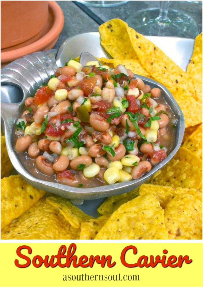 Southern Cavier with Black Eyed Peas and Corn