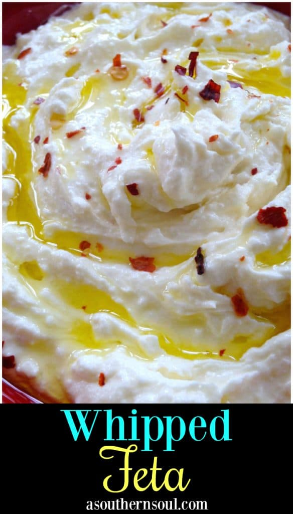 Whipped Feta, blended until smooth then topped with olive oil and red pepper flakes. Serve with pita chips for a delicious appetizer!