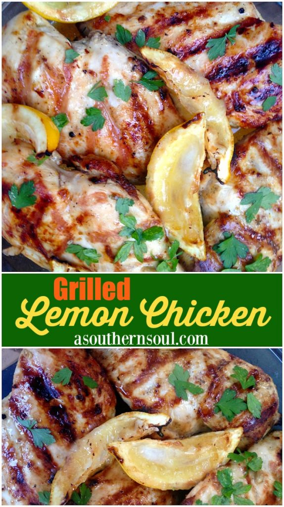Grilled chicken marinated in a bright lemony marinade is great as a main dish and can be used in salads, wraps, tacos and snacks.