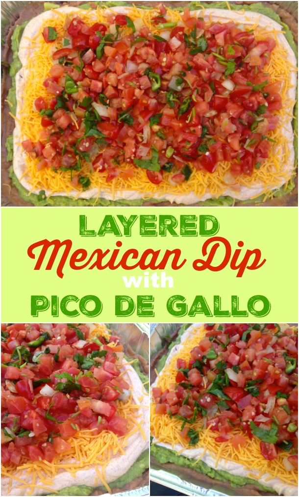 Mexican Dip layered with refried beans, spicy sour cream, guacamole, cheese and fresh pico de gallo is a great way to celebrate Cinco do Mayo or any other day!