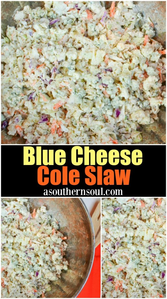 Blue Cheese Slaw is made with a store bout cabbage blend, blue cheese crumbles and an easy to make dressing. It's the perfect topping for burgers, pulled pork, hot dogs and grilled sausages.