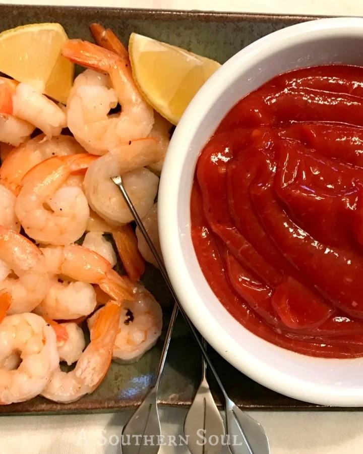 shrimp with fresh cocktail sauce