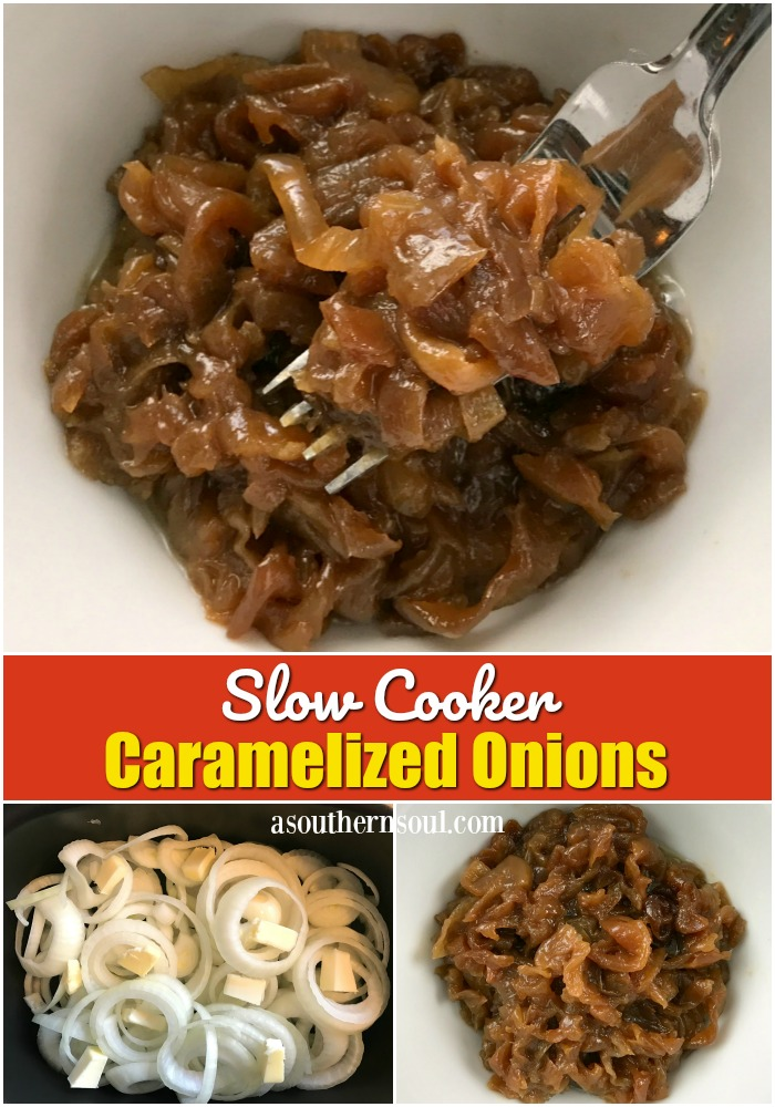 How to make caramelized onion in the slow cooker. Perfect on burgers, dogs, pizza and as a topping for grilled chicken or pork.