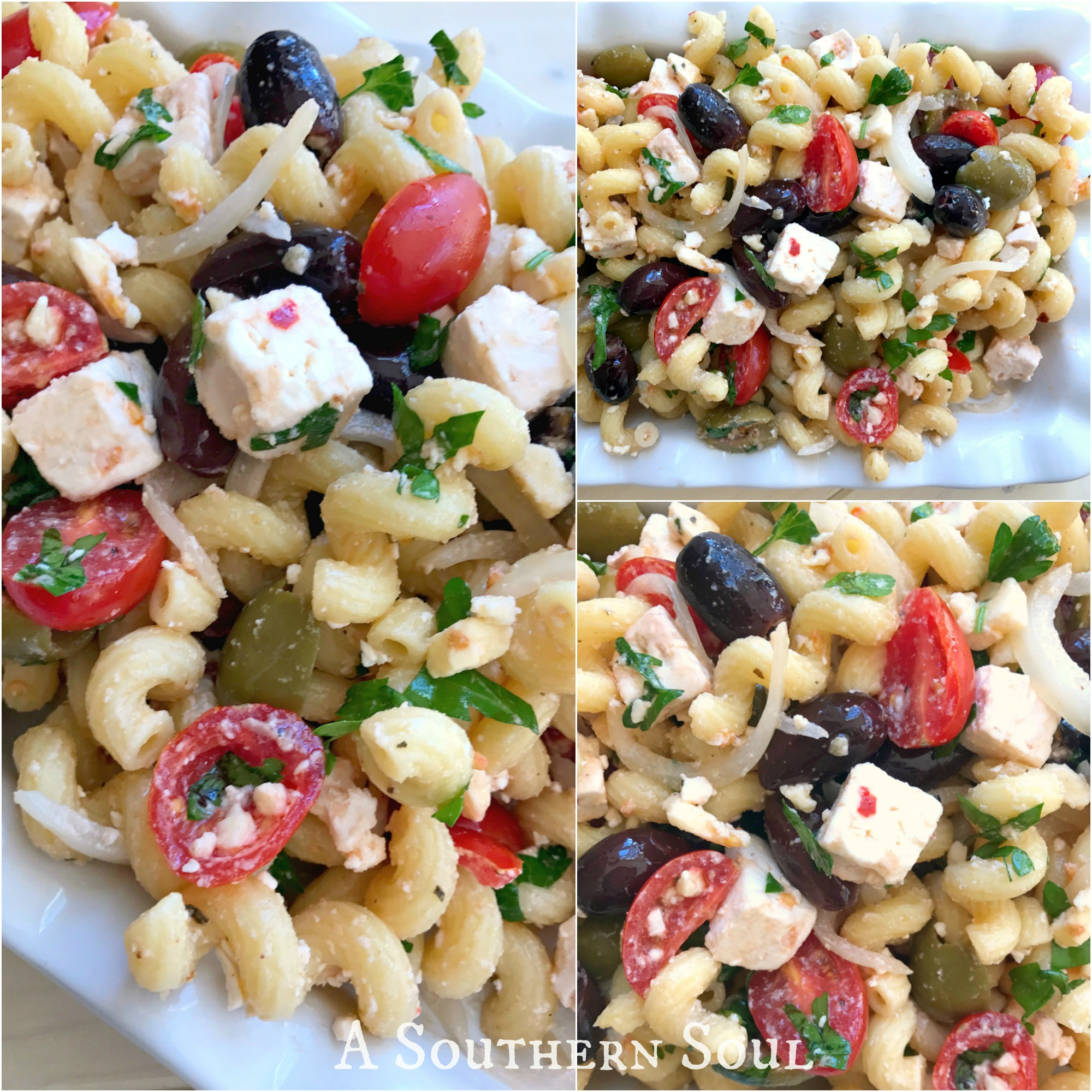 Greek salad with olives and feta