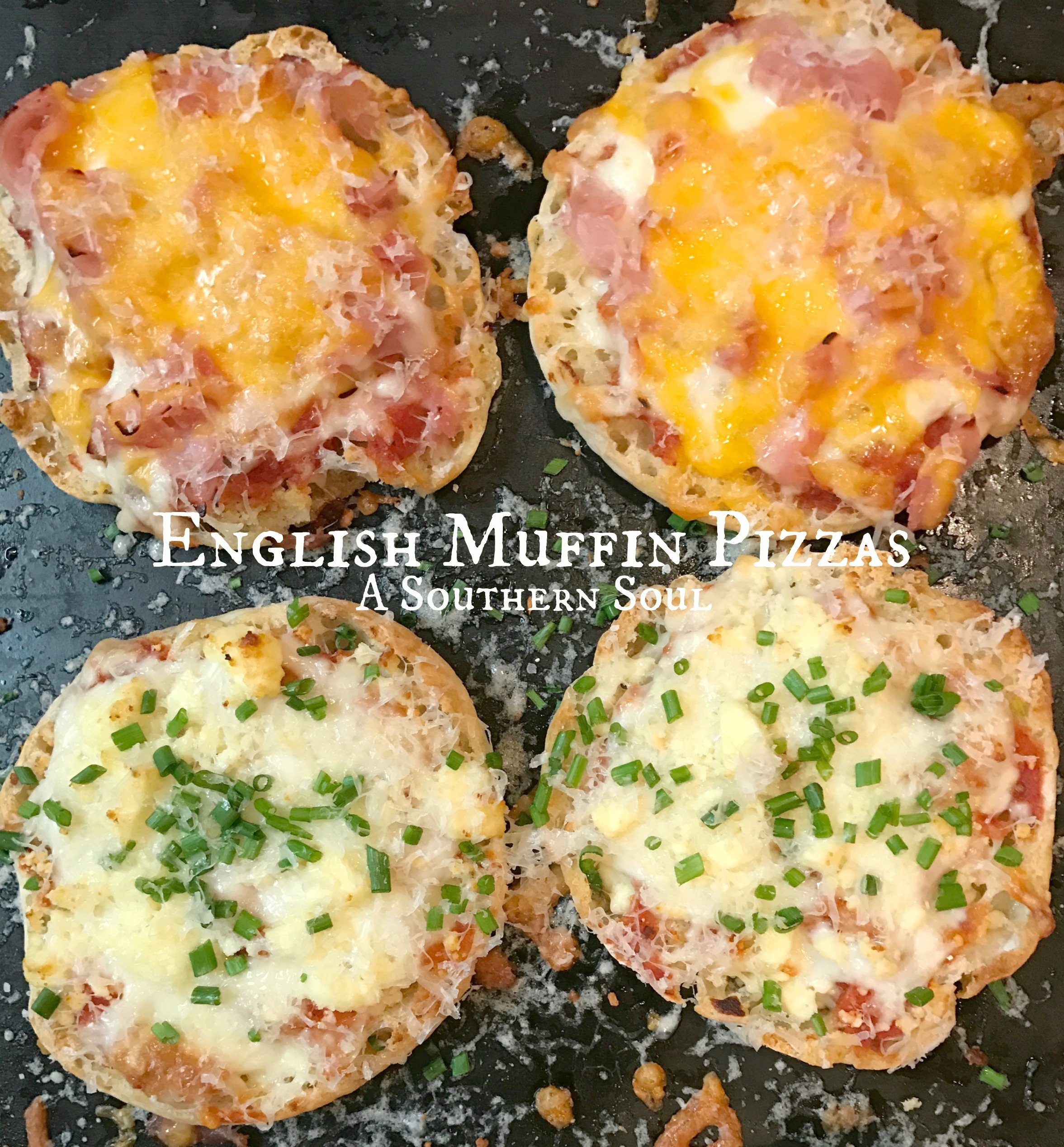english muffin chive and ham pizzas