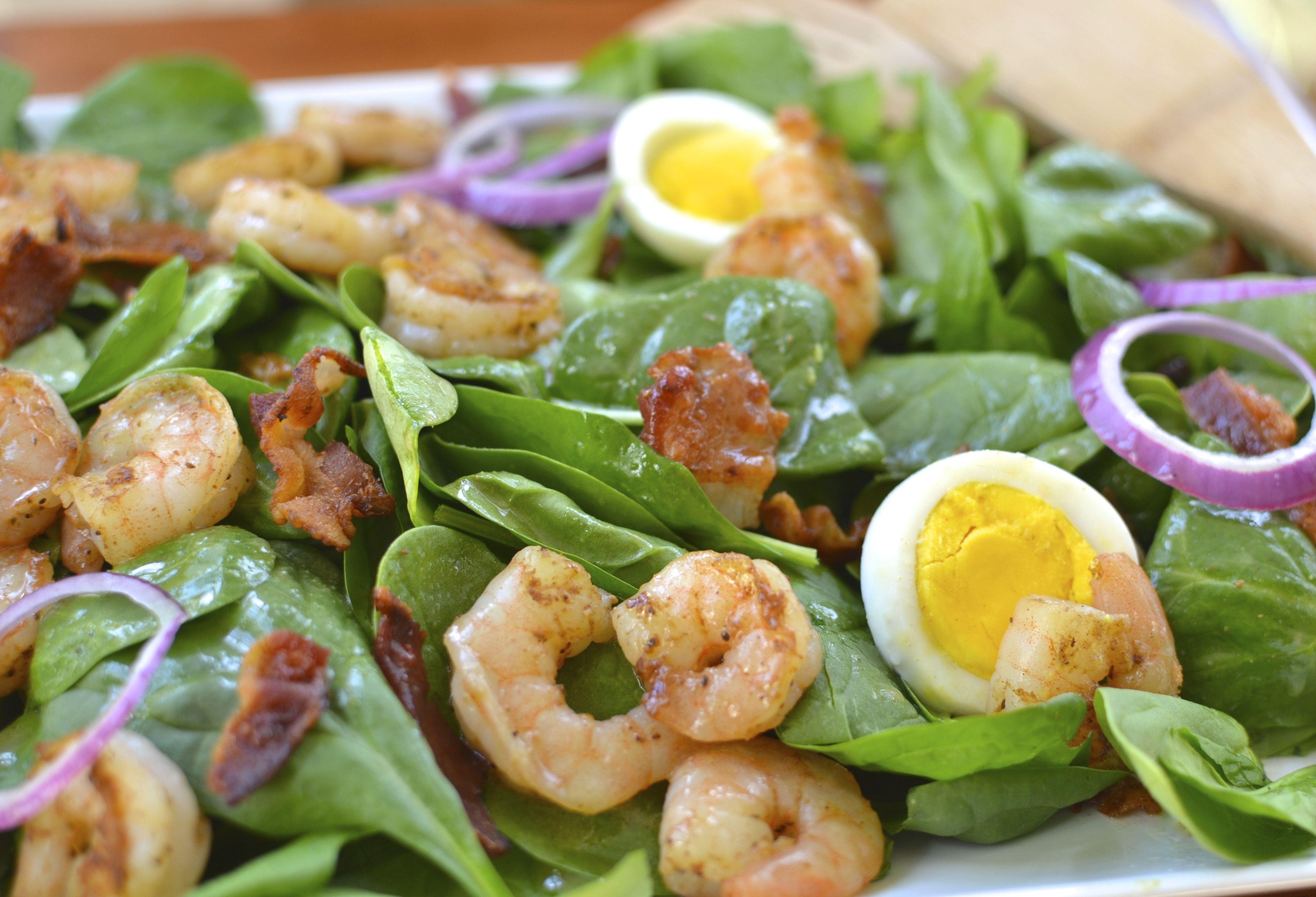 spinach bacon shrimp salad