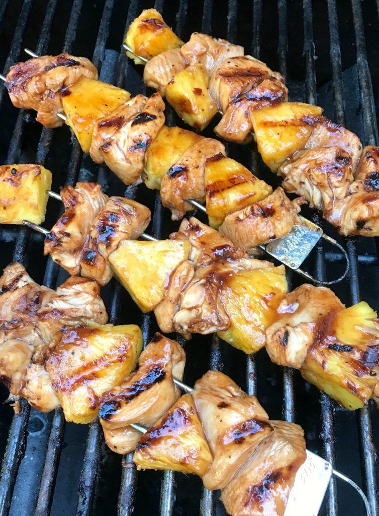 grilled chicken and pineapple skewers