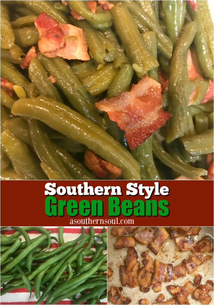 Southern Style Green beans cooked with bacon and just the right seasoning make a classic side dish. An easy recipe that's perfect for the holidays, Sunday supper or a weeknight meal