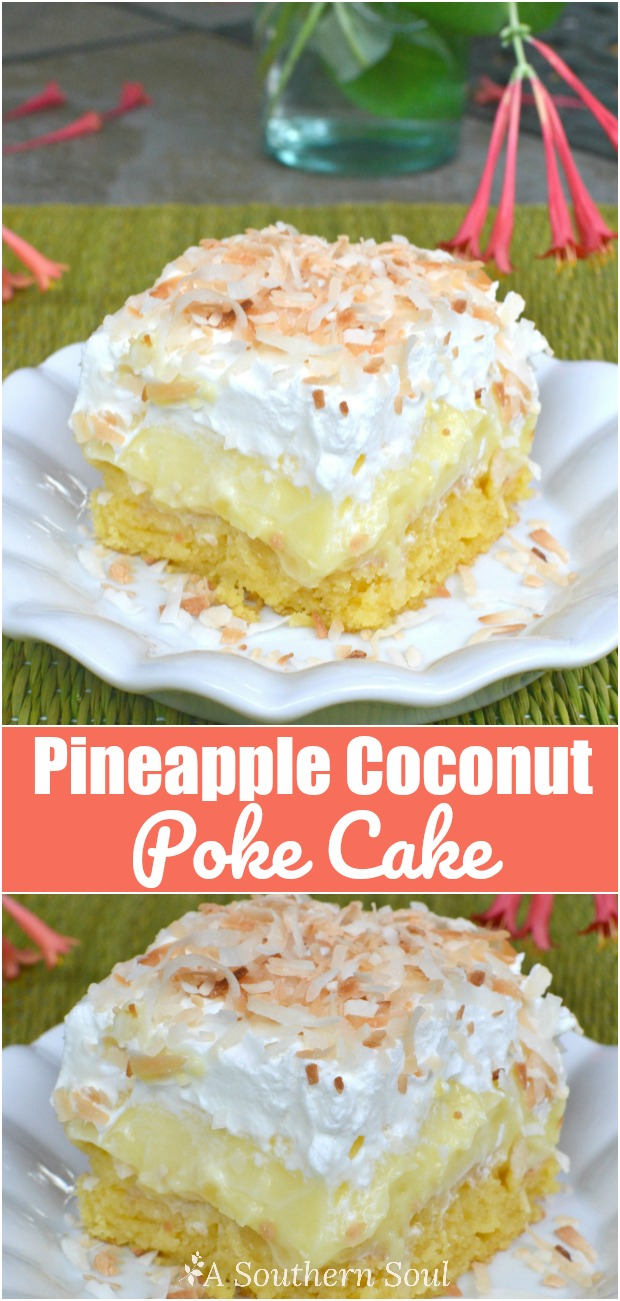 Pineapple Coconut Poke Cake that's easy to make with fresh tropical flavors!