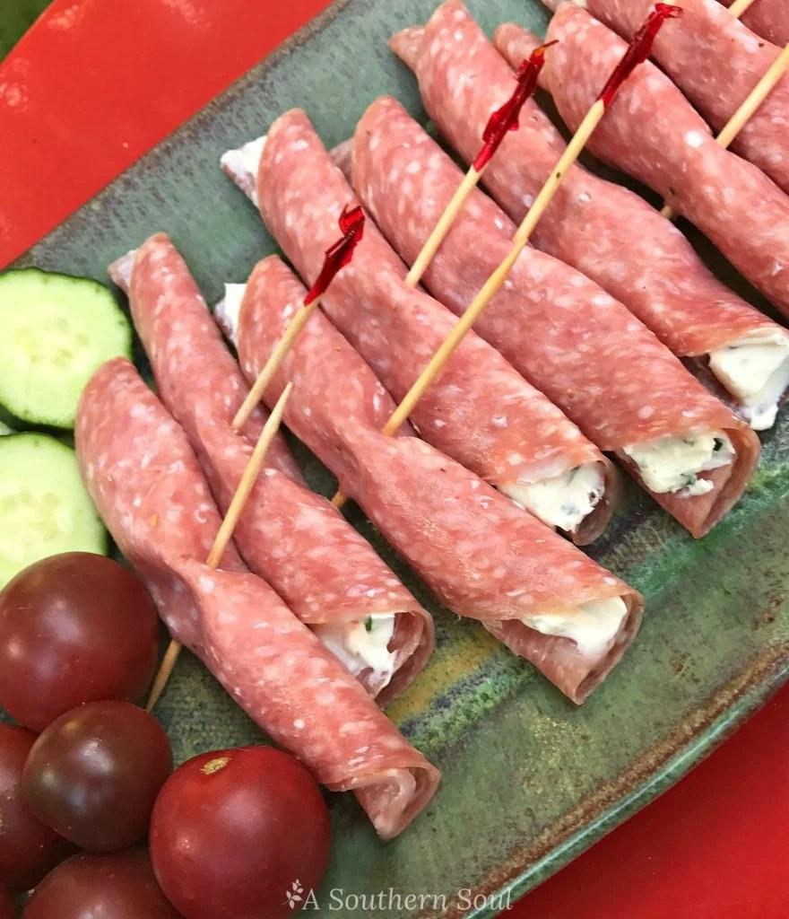 salami & cream cheese platter